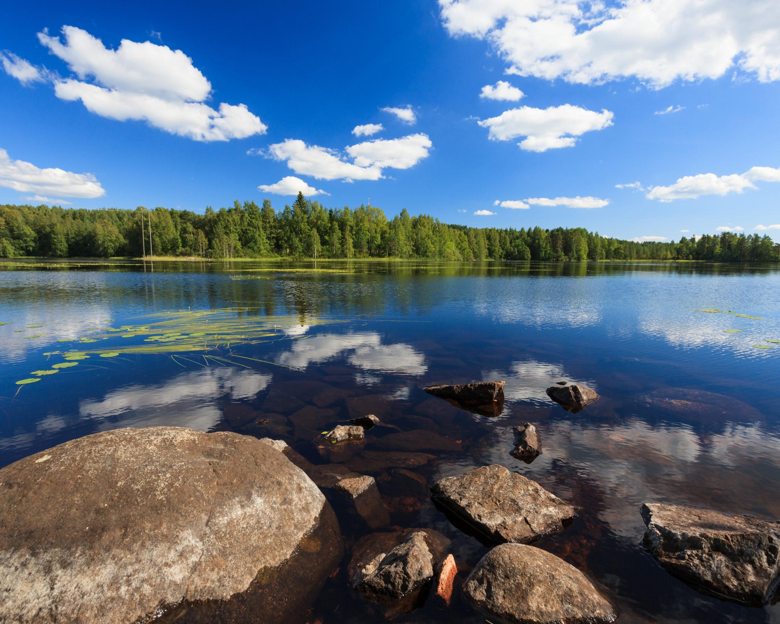 Kesäinen järvimaisema Suomesta