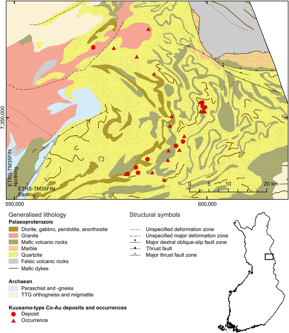Figure 1. Generalised geology of the central part of the Kuusamo schist belt, with the known Au–Co deposits and occurrences. The geological map is based on the GTK in-house digital bedrock database (Bedrock of Finland − DigiKP).