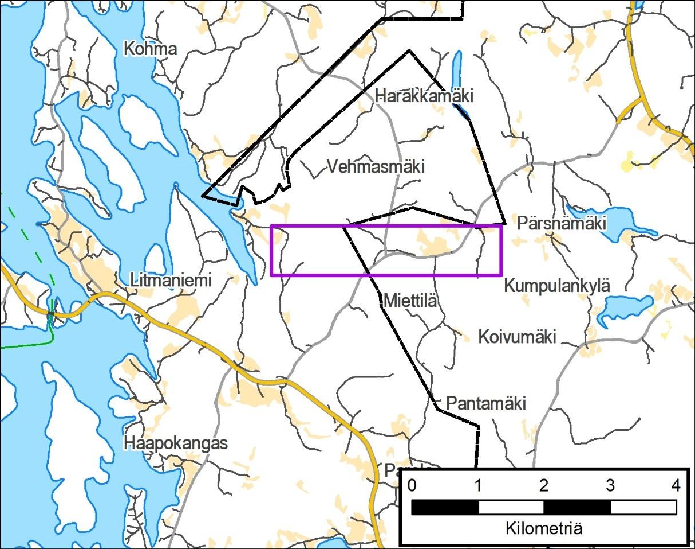 Karttakuva Litmaniemen ja Pärsnämäen välisestä alueesta, jolla mittaukset suoritetaan.