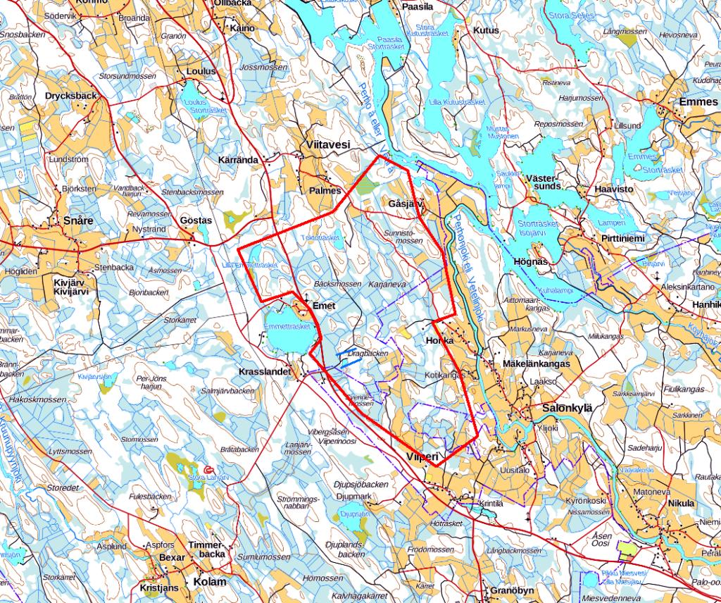GTK tekee Kruunupyyn ja Kaustisen alueella kallioperänäytteenottoa timanttikairauksella kartalla merkityllä alueella