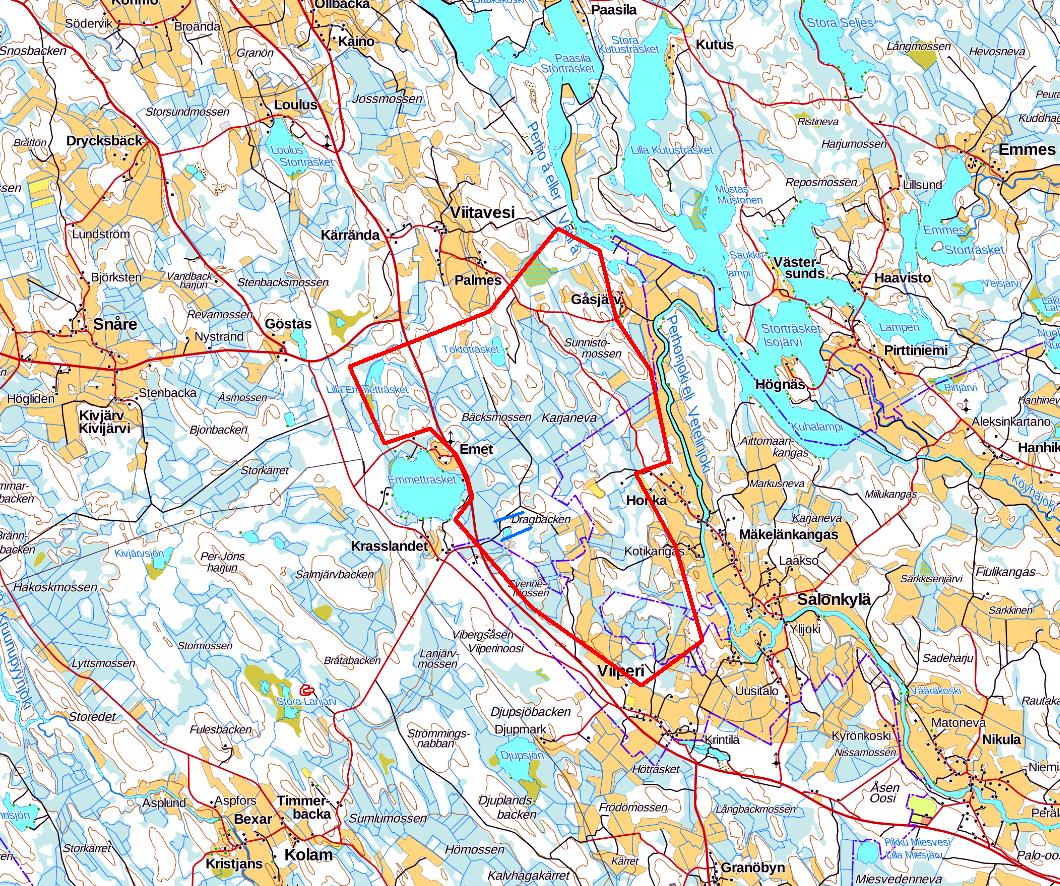 GTK har planerat att utföra maskinell provtagning med diamantborr i Kronoby och Kaustby på ett område som markerats på kartan.