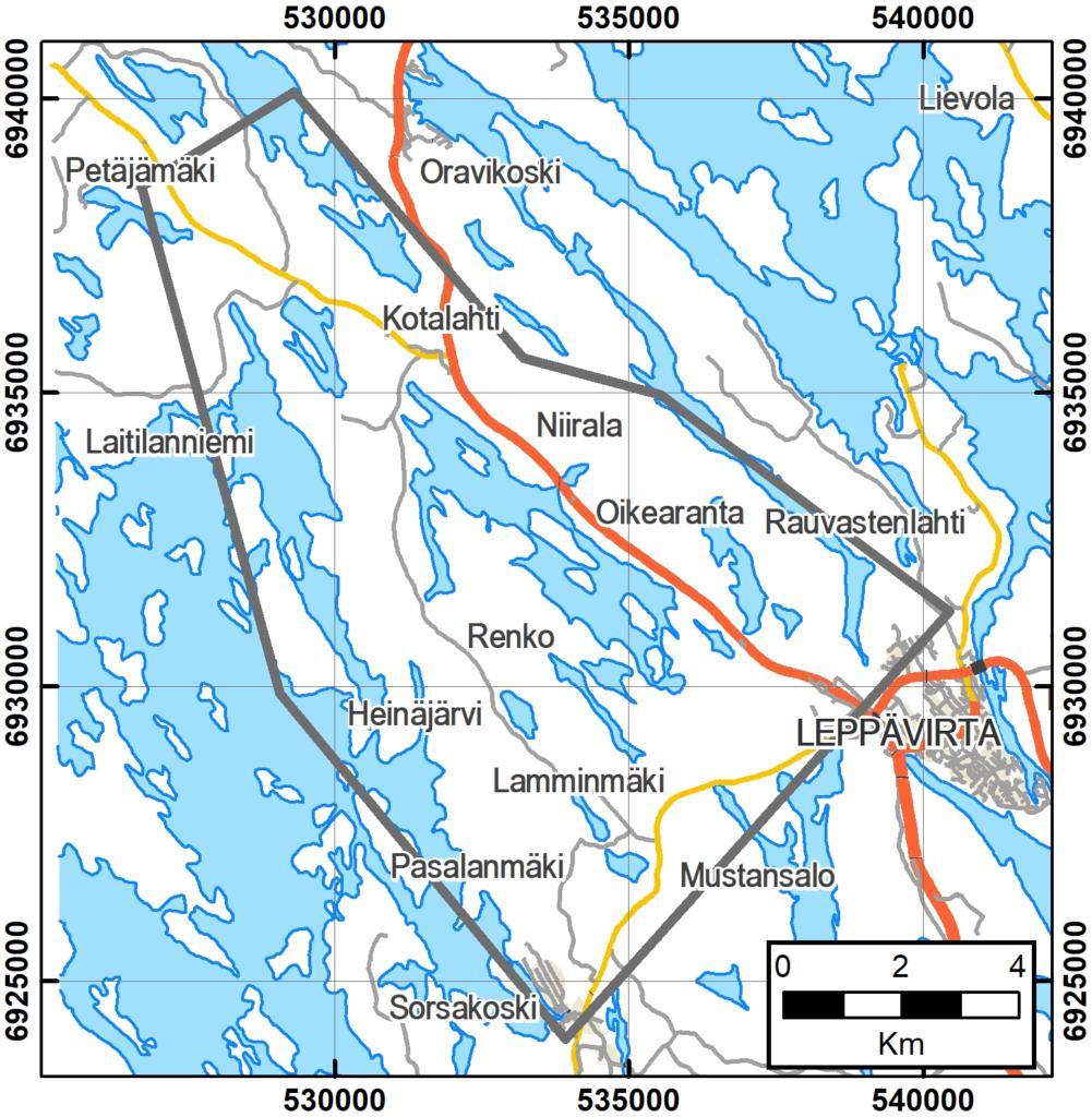 Kartalle harmaalla rajattu Pasalanmäen tutkimusalue sijoittuu Leppävirran kirjonkylänluoteispuolelle. Aluetta ei tulla mittaamaan kokonaisuudessaan, vaan mittaukset tehdään erillisinä linjoina. Pohjakartta ©Maanmittauslaitos.