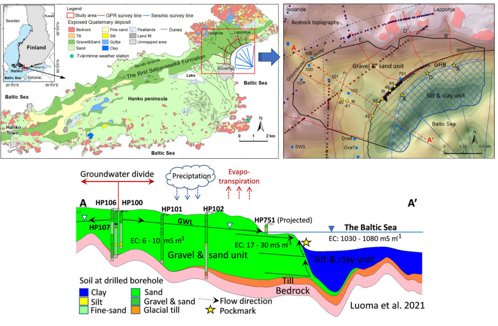 Fig. 1. Location of a submarine groundwater discharge site at Hanko-Lappohja (Finland), northern Baltic Sea, a bedrock topography map of the site and a geological cross-section along the line A-A'.