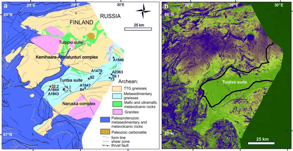Kuva 1. a) Tuntsan sviitin ja sitä ympäröivien alueiden geologinen kartta, yksinkertaistettuna kartasta Suomen kallioperä – DigiKP. Digitaalinen karttatietokanta [Sähköinen resurssi]. Espoo: Geologian tutkimuskeskus (bedrock_of_finland_200k.xml); numeroidut pisteet viittaavat tutkittujen näytteiden sijaintiin.); b) magneettinen väärävärikartta, violetti = magneettinen maksimi, vihreä = magneettinen minimi, Tuntsan sviitin rajat merkitty mustalla viivalla.
