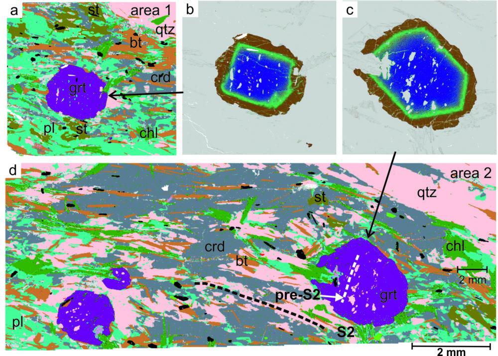 Figure 2. QEMSCAN images of a thin section, b) and c) on garnet. Mineral abbreviations: bt = biotite, chl = chlorite, crd = cordierite, grt = garnet, pl = plagioclase, st = staurolite, qtz = quartz.