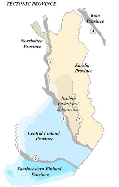 Fig. 6. Tectonic provinces in Finland. The numbers refer to the province boundaries: (1) the Raahe–Ladoga Suture (R–LS); (2) the Jormua–Outokumpu Suture (J–OS) separating the Iisalmi–Pudasjärvi Subprovince from the Karelia Province; (3) the Kautokeino–Muonio– Tornio Suture (K–M–TS); (4) the Pechenga–Imandra– Varzuga Suture (P–I–VS); (5) the Bothnia–Pirkanmaa Suture (B–PS).