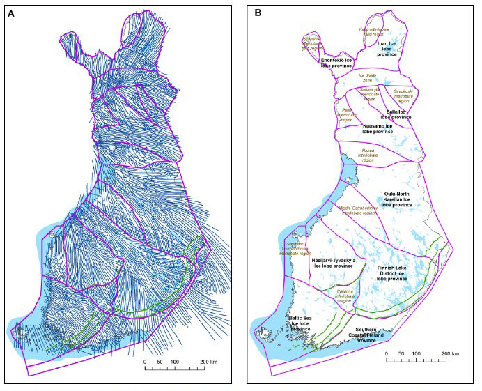 Fig. 5. (A) The general ice-flow directions of various ages (blue lines; interpreted by Salonen 1986) and major ice-marginal positions (green lines) of the last deglaciation; province and region boundaries are shown as purple lines. (B) Glacial dynamic provinces and regions in Finland (modified from Putkinen et al. 2017); the Salpausselkäs and other major ice-marginal systems are shown as dark grey lines. Basemap © National Land Survey of Finland.