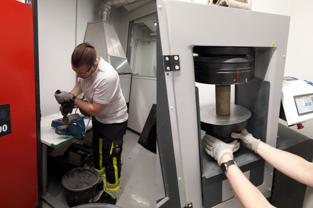Simo Hyvönen unwrapping the moulds and performing compressive strength tests at Savonia. (Photos: Soili Solismaa/GTK)