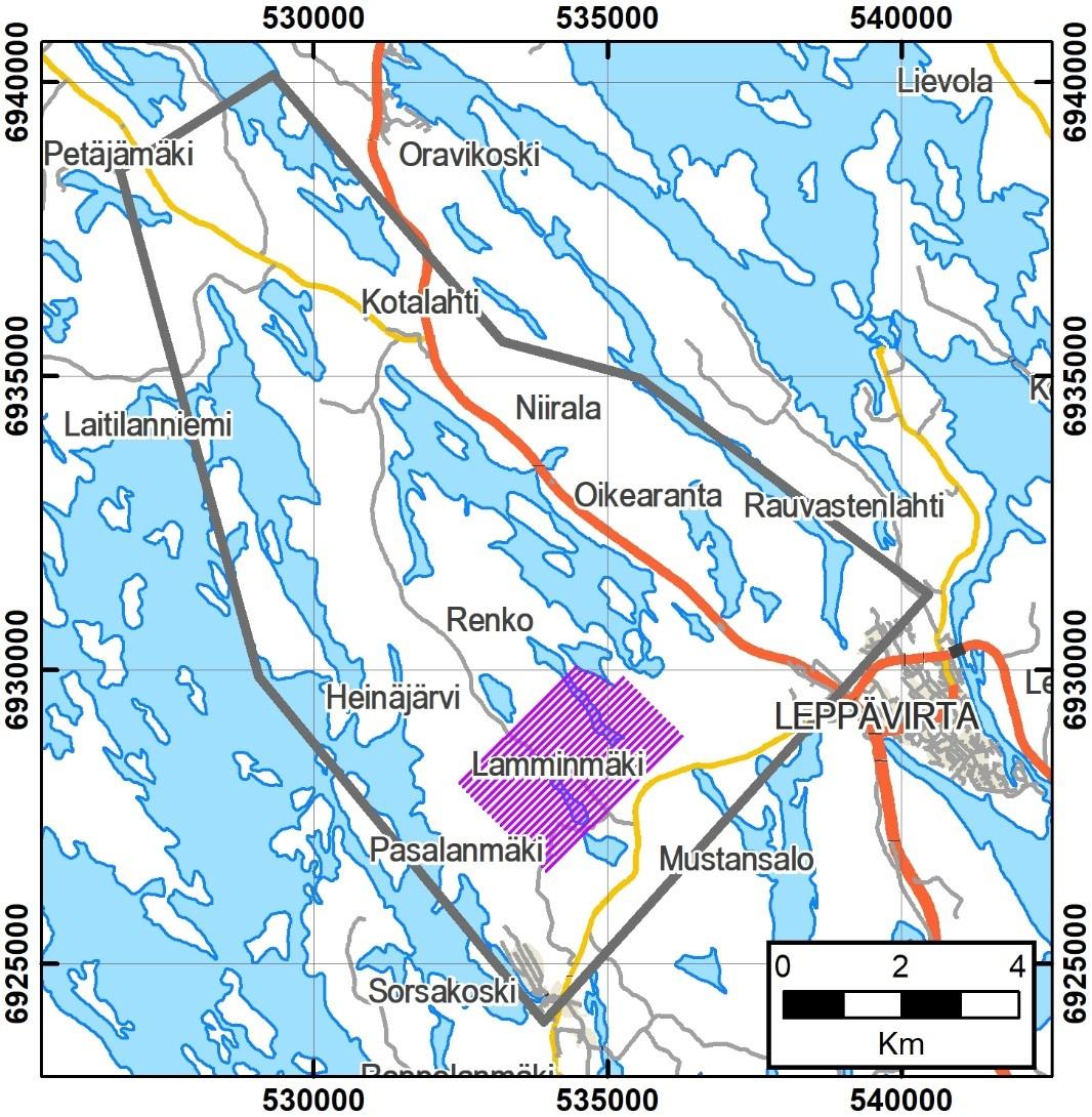 Kartta Pasalanmäen tutkimusalueesta